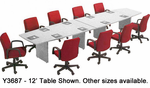 "Custom Boat-Shaped Conference Tables from 6' to 18' - 6' x 36"" Size"