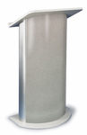 Contemporary Curved Lecterns - Gray Granite with Satin Anodized Aluminum