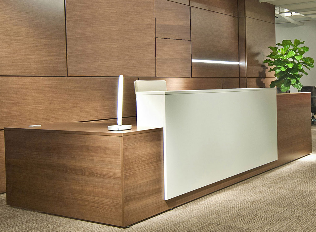 contrasts custom l shaped lobby desk right return