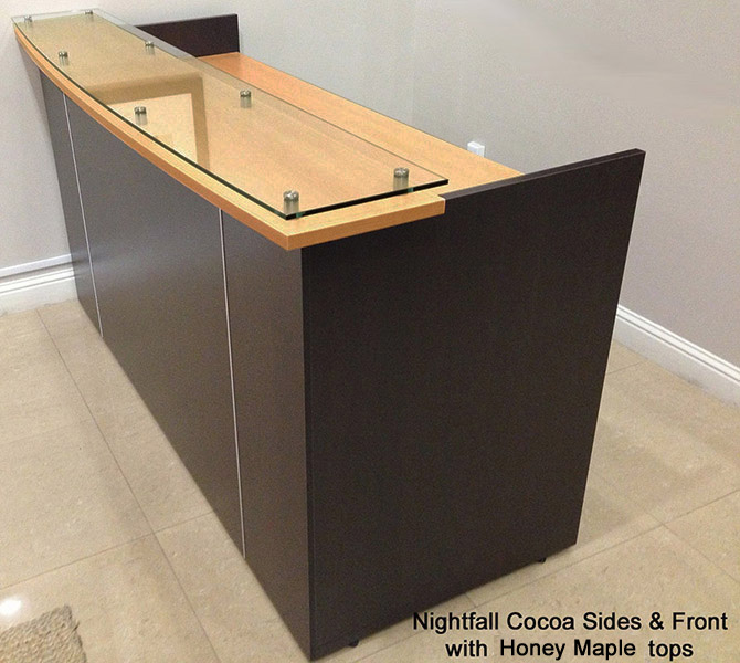 Custom Standing Height Glass Top Reception Desk Series 6