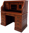 "53-3/4""W Deluxe Cherry Roll Top Desk - In Stock!"