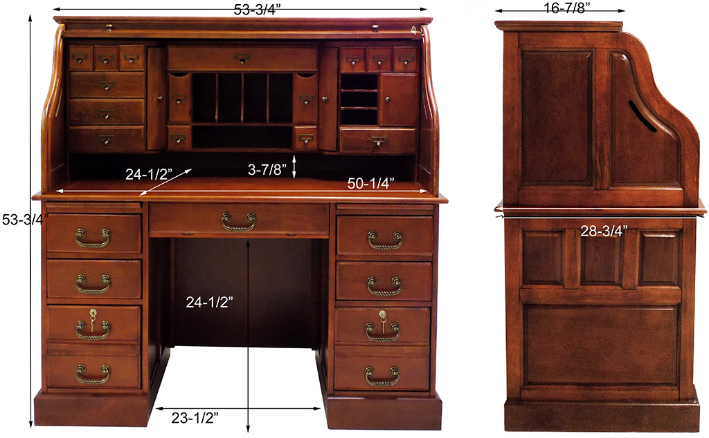 "Home > Roll Top Desks > 53-3/4""W Deluxe Cherry Roll Top Desk - In"