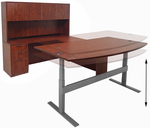 Electric Lift U-Shaped Cherry Workstation w/Hutch