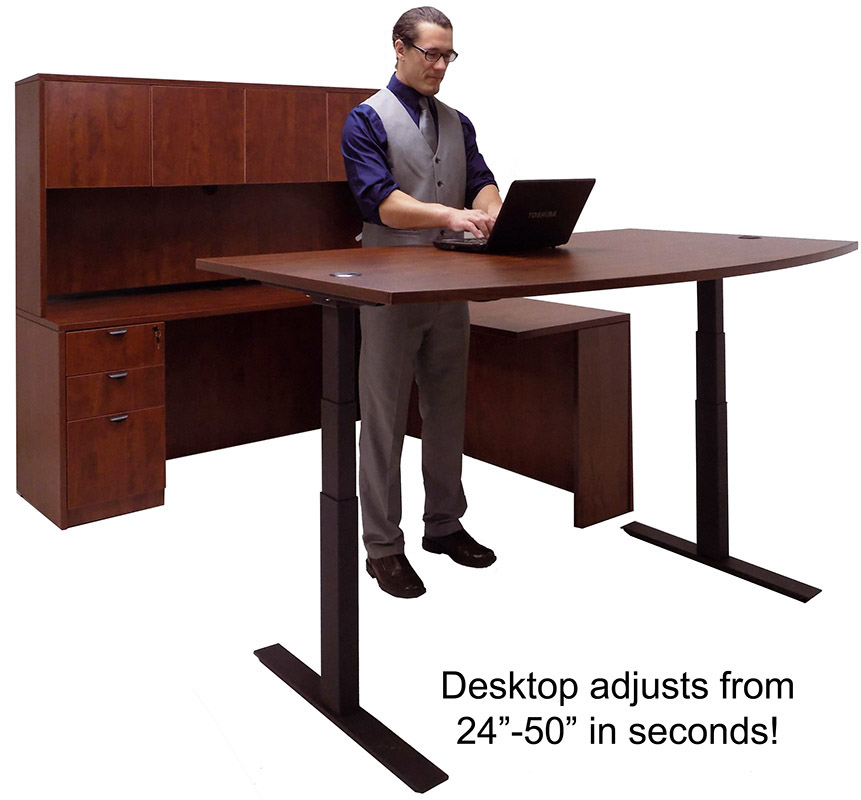 Electric Lift Adjustable Height Cherry U Desk W Hutch