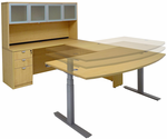 Electric Lift Adjustable Height Maple U-Desk w/Hutch