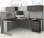 Office in an Hour Cubicles - L-Workstation w/Storage Accessories