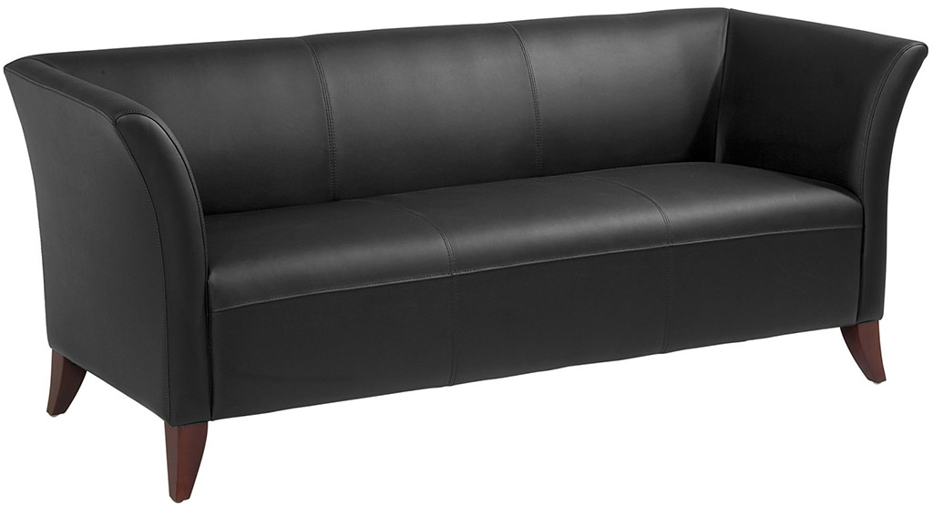 office star sl15 series black faux leather sofa black leather sofa office