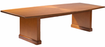 Radiant Sunburst Patterned Cherry Veneer Conference Tables � 10' Boat-Shaped Table