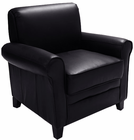 Rolled Arm Black Leather Club Chair