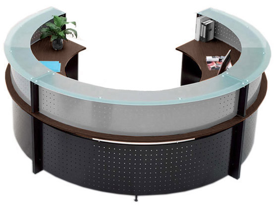 Semi Circular Glass Top Reception Desk