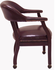 Traditional Antiqued Oxblood Leather Guest/Conference Chair with Casters