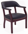 Traditional Matte Black Leather Guest/Reception Chair