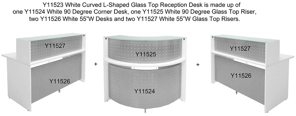 White Curved L Shaped Glass Top Reception Desk