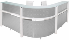 White Curved L-Shaped Glass Top Reception Desk