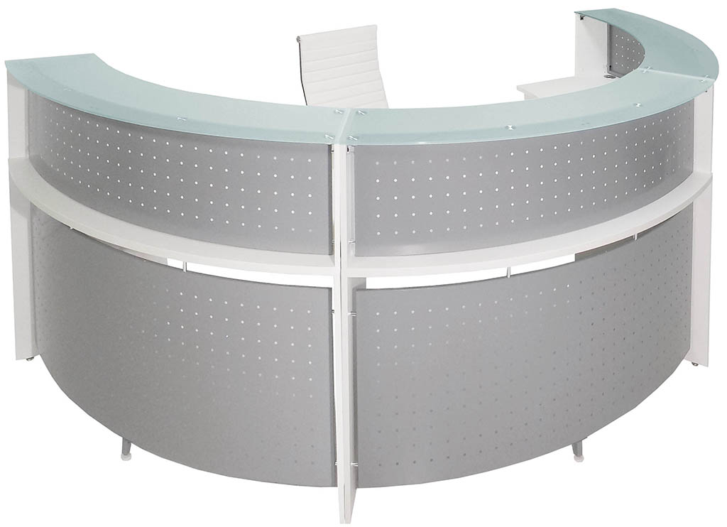 White 180 176 Half Round Curved Glass Top Reception Desk