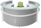 White Semi-Circular Glass Top Reception Desk