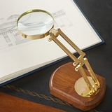 Adjustable Brass Magnifier on Wood Base