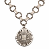 Antiqued Sterling Silver Bubble Chain and Medallion