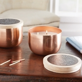 Bergamot & Mahogany Scented Candle in Copper Holder