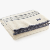 Blue-Striped Cream Heirloom Woolen Throw