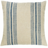 Blue Striped Linen Pillow
