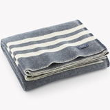 Cream-Striped Blue Heirloom Woolen Throw