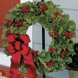 Dried Berry Wreath with Satin Bow