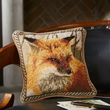"""Fox Needlepoint Pillow <font color=""""a71932"""">(Sold Out)</font>"""