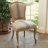 French Striped Linen Chair