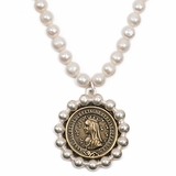 Fresh Water Pearls & Bayonne Medallion