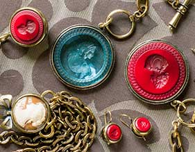 German Glass Intaglio Jewelry