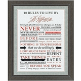 Jefferson's Ten Rules to Live By Framed Print