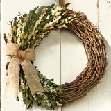 Larkspur Wreath with Burlap Bow