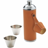 Leather Wrapped Flask with Cups