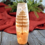 Lighted Gold Winter Scene Slender Vase