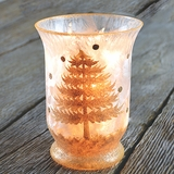 Lighted Gold Winter Scene Vase