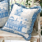 Monticello Blueprint Pillow (South View)