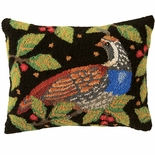 Partridge and Pears Hooked Pillow