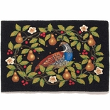 Partridge and Pears Hooked Rug