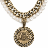Pearls & Brass Double Chain Necklace