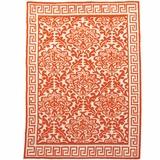 Persimmon Floral Rug with Greek Key Border