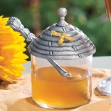 Pewter Beehive Honey Pot