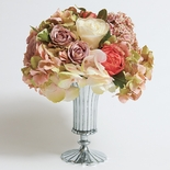 Pink Arrangement in Fluted Silver Vase