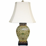Porcelain Green and Gold Urn Lamp