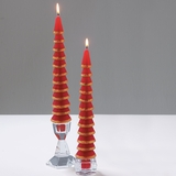 Red Glitter Tree Taper Candles