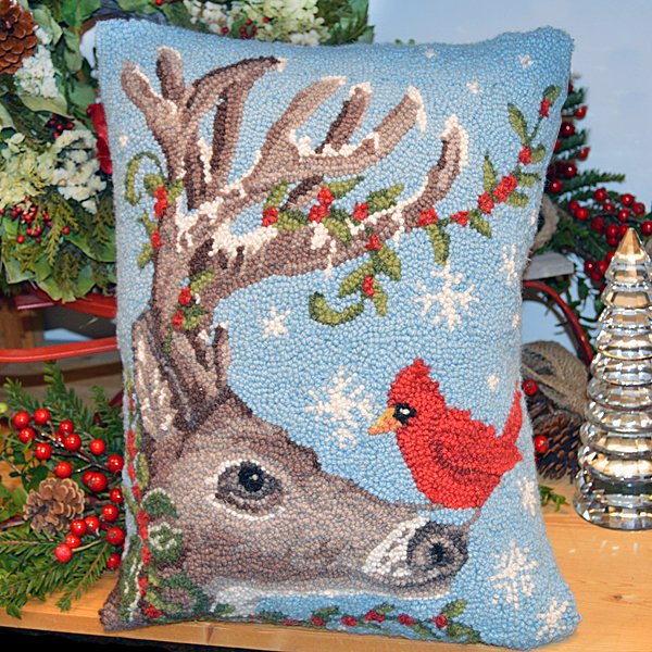 Reindeer and Cardinal Hook Pillow
