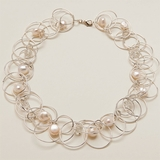 Sterling over Copper with Pearls Necklace