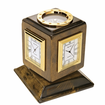 Time Zone and Compass Desk Clock