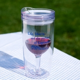 Travel Wine Glass with Liberty Quote