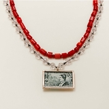 Vintage French Stamp Necklace
